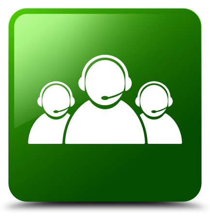 Customer care team icon isolated on green square button abstract illustration Stock Photo