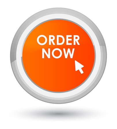 Order now isolated on prime orange round button abstract illustration Stock Photo
