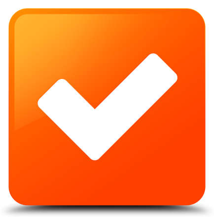 Validate icon isolated on orange square button abstract illustration