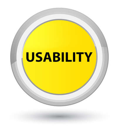 Usability isolated on prime yellow round button abstract illustration