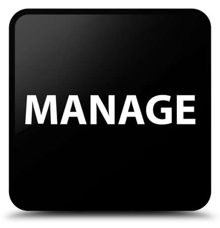 Manage isolated on black square button abstract illustration