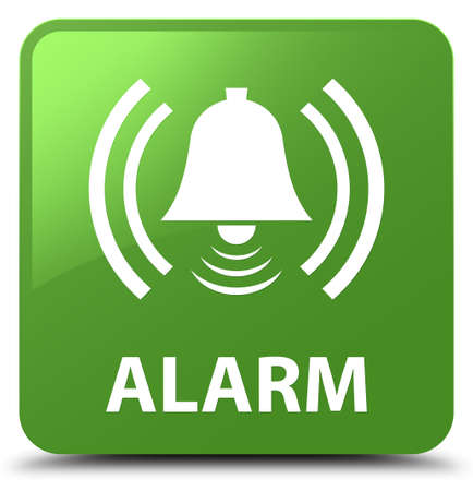 Alarm (bell icon) isolated on soft green square button abstract illustration