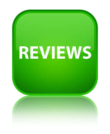 Reviews isolated on special green square button reflected abstract illustration Stock Photo