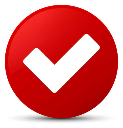 Validate icon isolated on red round button abstract illustration Stock Illustration - 88707170