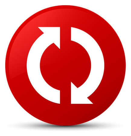 Update icon isolated on red round button abstract illustration Stock Photo