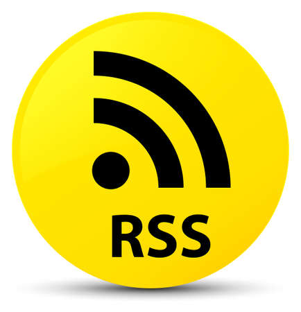 RSS isolated on yellow round button abstract illustration Stock Photo