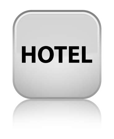 Hotel isolated on special white square button reflected abstract illustration Stock Photo