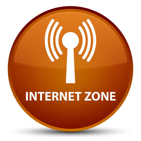 Internet zone (wlan network) isolated on special brown round button abstract illustration