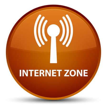 Zone Internet (réseau WLAN) isolé sur illustration abstraite spéciale bouton rond brun Banque d'images - 88714650