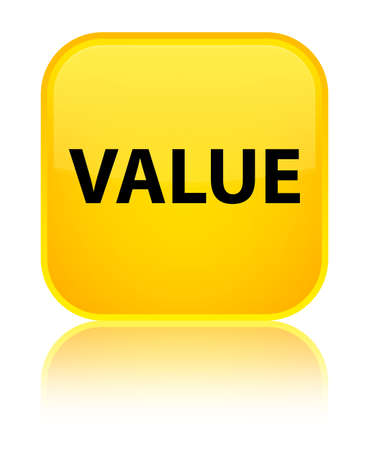Value isolated on special yellow square button reflected abstract illustration