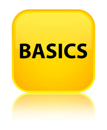 Basics isolated on special yellow square button reflected abstract illustration Фото со стока