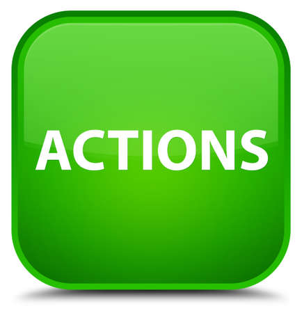 Actions isolated on special green square button abstract illustration Stok Fotoğraf