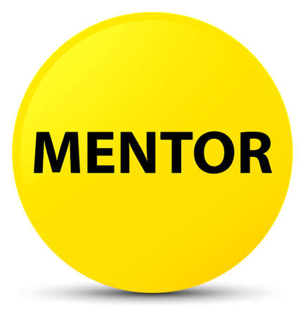 Mentor isolated on yellow round button abstract illustration