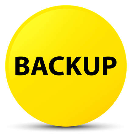 Backup isolated on yellow round button abstract illustration