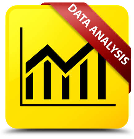 Data analysis (statistics icon) isolated on yellow square button with red ribbon in corner abstract illustration