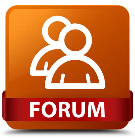 Forum (group icon) isolated on brown square button with red ribbon in middle abstract illustration Stock Photo