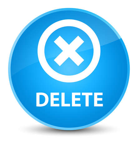 Delete isolated on elegant cyan blue round button abstract illustration