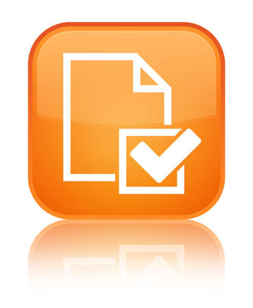 Checklist icon isolated on special orange square button reflected abstract illustration Stock Photo