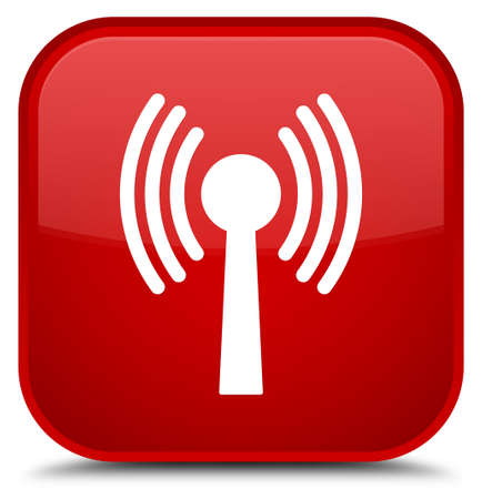 Wlan network icon isolated on special red square button abstract illustration Stock Photo