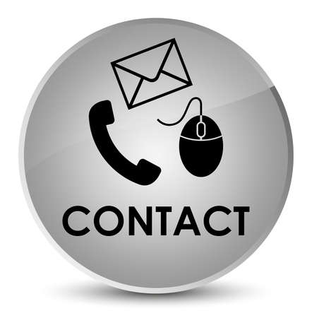 Contact (phone email and mouse icon) white isolated on elegant round button abstract illustration
