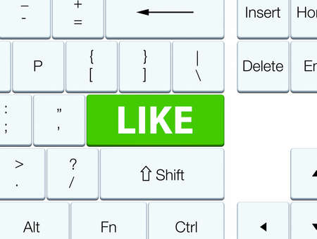 Like isolated on soft green keyboard button abstract illustration