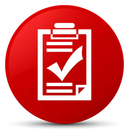 Checklist icon isolated on red round button abstract illustration