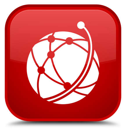 Global network icon isolated on special red square button abstract illustration