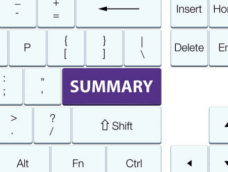 Summary isolated on purple keyboard button abstract illustration