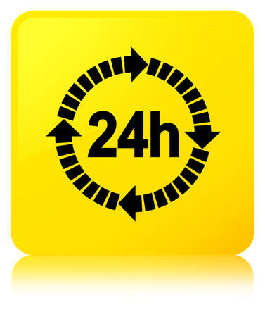 24 hours delivery icon isolated on yellow square button reflected abstract illustration