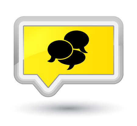 Comments icon isolated on prime yellow banner button abstract illustration Stock Photo