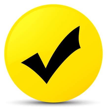 validation: Validation icon isolated on yellow round button abstract illustration Stock Photo