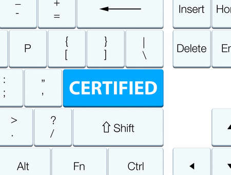 Certified isolated on cyan blue keyboard button abstract illustration Фото со стока
