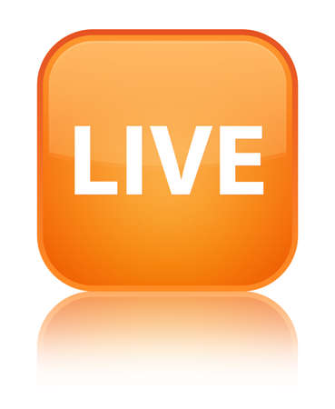 Live isolated on special orange square button reflected abstract illustration