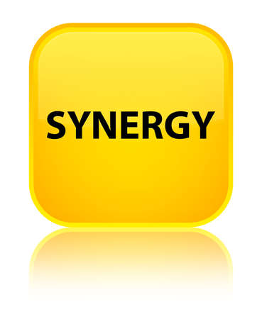 Synergy isolated on special yellow square button reflected abstract illustration