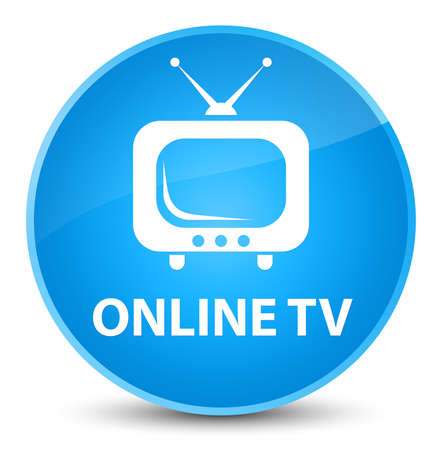 Online tv isolated on elegant cyan blue round button abstract illustration Stock Photo