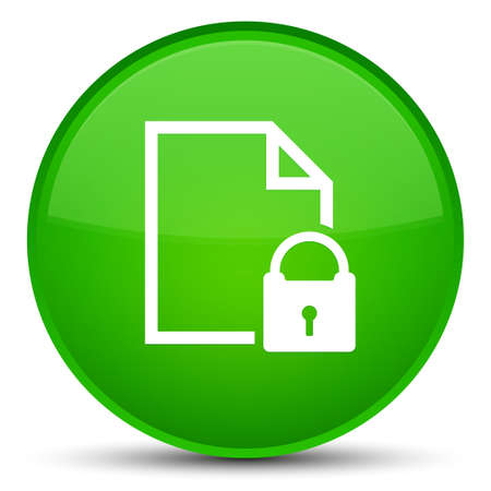 Secure document icon isolated on special green round button abstract illustration Stock Photo