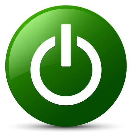 Power icon isolated on green round button abstract illustration