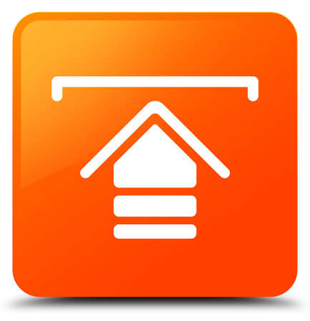 Upload icon isolated on orange square button abstract illustration