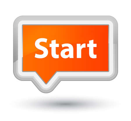 Start isolated on prime orange banner button abstract illustration Stock Photo