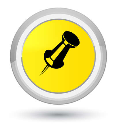 Push pin icon isolated on prime yellow round button abstract illustration