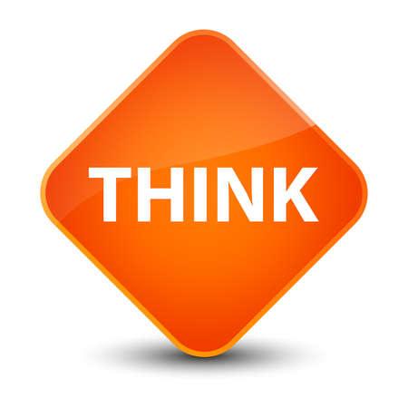 Think isolated on elegant orange diamond button abstract illustration Stock Photo