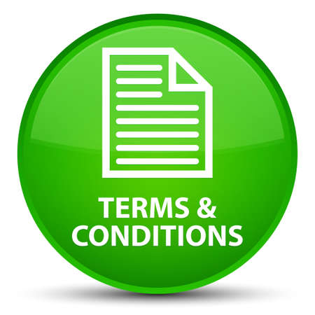 Terms and conditions (page icon) isolated on special green round button abstract illustration Stock Photo