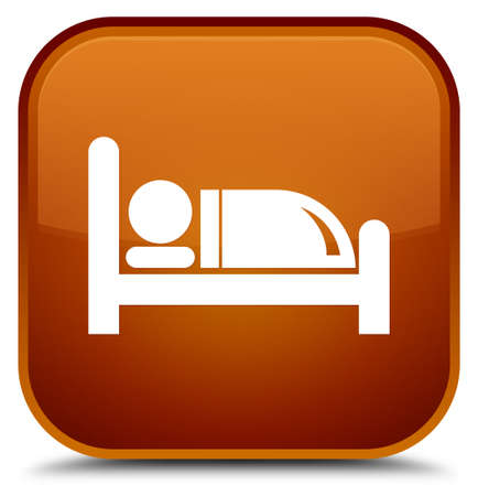 Hotel bed icon isolated on special brown square button abstract illustration Stock Photo