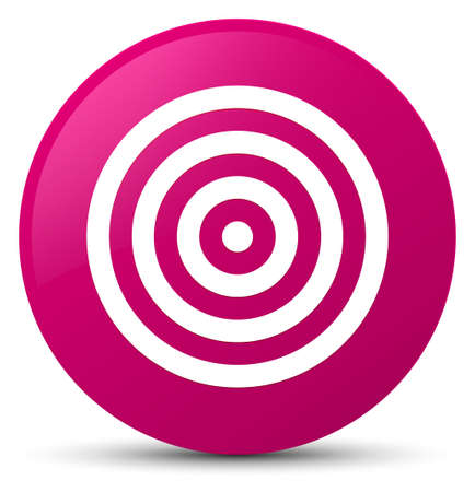 Target icon isolated on pink round button abstract illustration