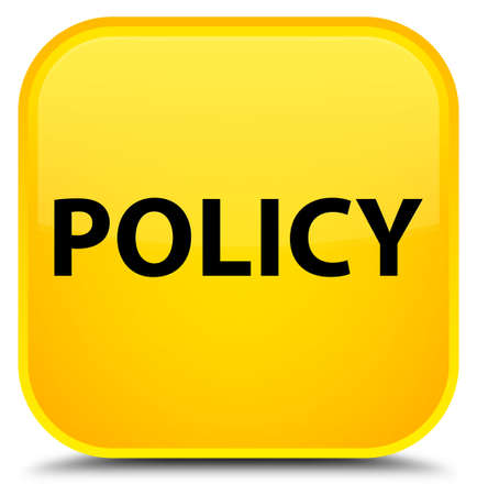 Policy isolated on special yellow square button abstract illustration