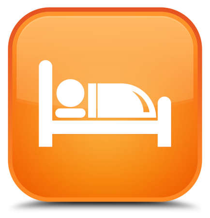 nap: Hotel bed icon isolated on special orange square button abstract illustration