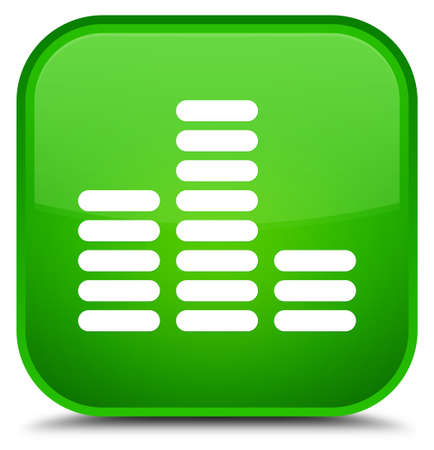 Equalizer icon isolated on special green square button abstract illustration