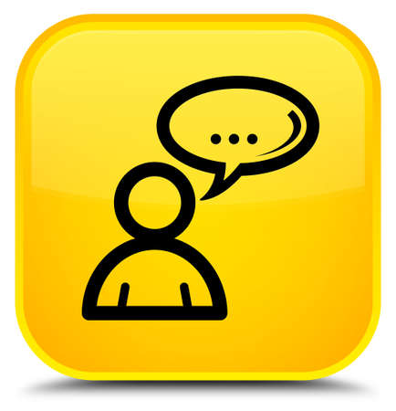 Social network icon isolated on special yellow square button abstract illustration