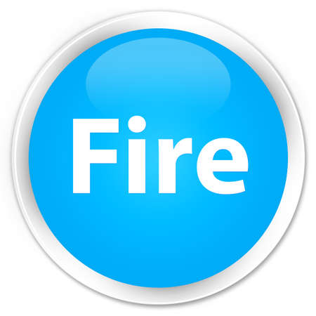 fire circle: Fire isolated on premium cyan blue round button abstract illustration