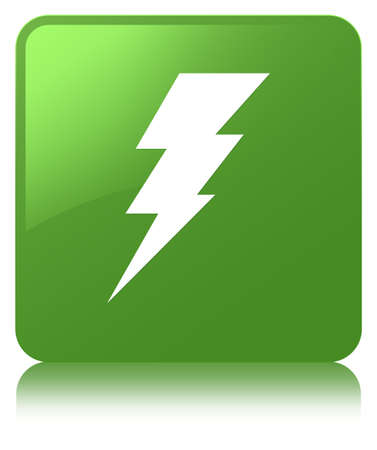 Electricity icon isolated on soft green square button reflected abstract illustration